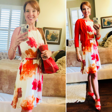 Calvin Klein Pink and Orange Floral Dress