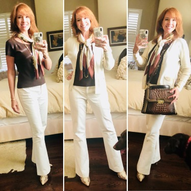 Etc winter white pants with new Steve Madden Bootie Skin Shoes