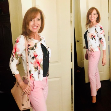 Light Pink Banana Republic Pants with Floral WHBM Cardigan