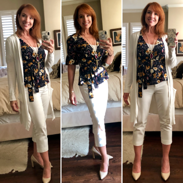 Ruffle Sleeve Wrap Top from JOA & WHBM white cropped pants