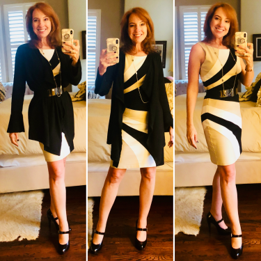 black tan white geo pattern dress