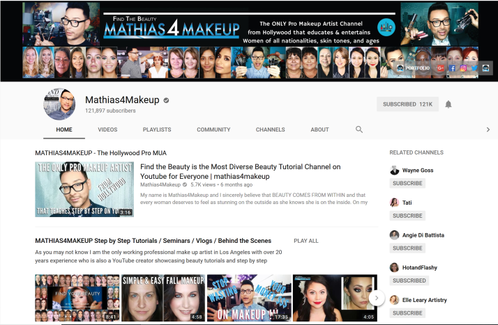 Mathias 4 Makeup YouTube channel screen print